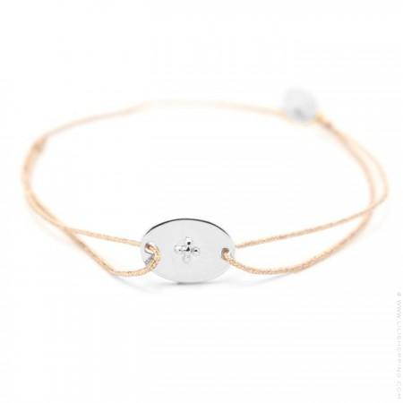 Bracelet croix gravée argent sur lien lurex