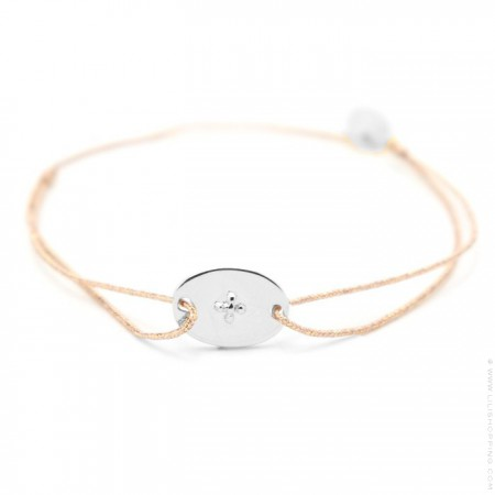 Bracelet anneau argent sur lien lurex