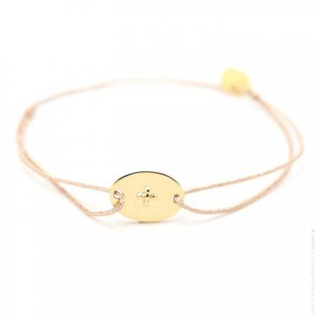 Bracelet anneau plaqué or sur lien lurex