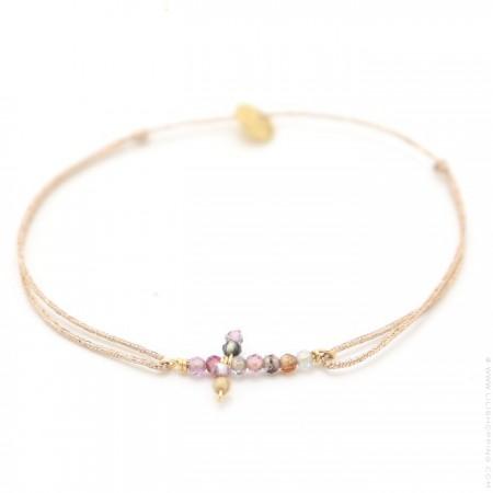 Spinel cross bracelet