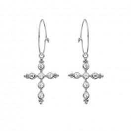 Sevilla cross silver platted earrings