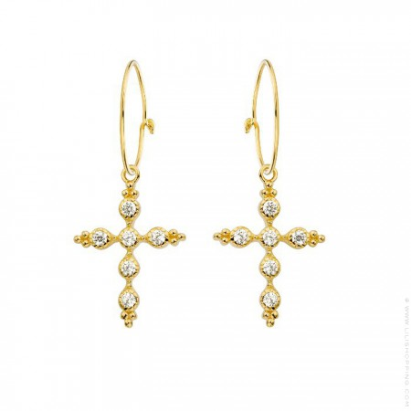 Sevilla cross gold platted earrings