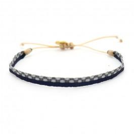 Bracelet Argentinas marine et damier gris
