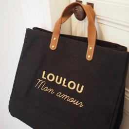 Sac cabas Le Mademoiselle Black Loulou mon amour gold
