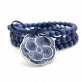 Silver and blue Camellia Bracelet / Necklace