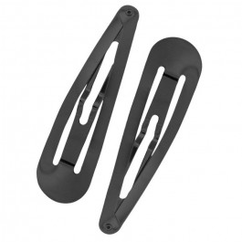 Hematite black XL snap clips 2 pc set