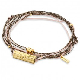 Bracelet multi cordons Martinique rose