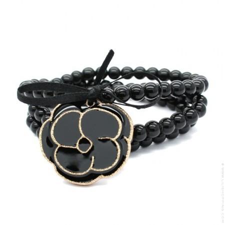 Bracelet / collier camélia noir doré