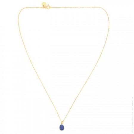 Collier plaqué or et cabochon saphir bleu