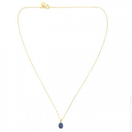 Gold plated necklace with blue saphir cabochon