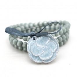 Silver and grey blue Camellia Bracelet / Necklace