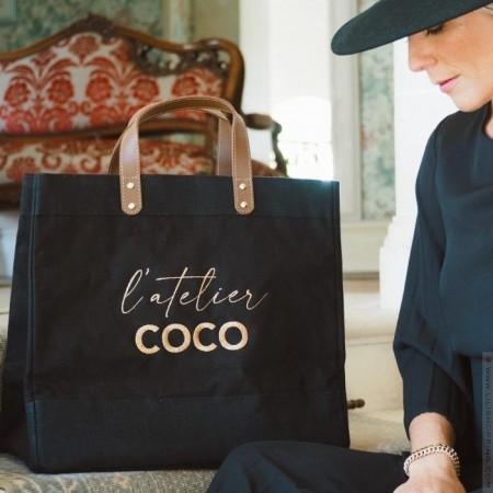 Sac cabas Le Mademoiselle Black L'atelier Coco gold
