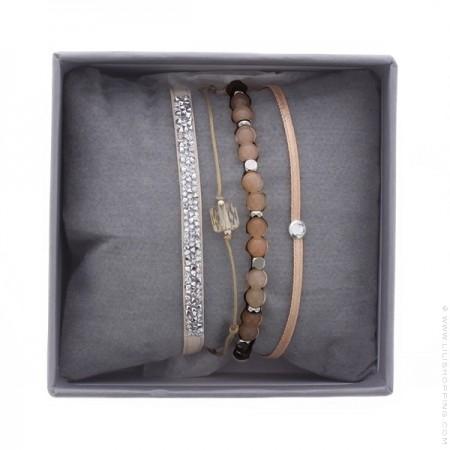 Bracelets Ultra fine rocks beige rosé