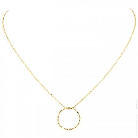 Collier Anneau ciselé sur chaine plaqué or