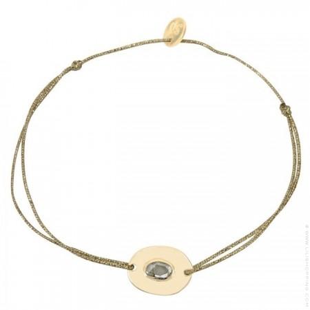 Bracelet croix gravée plaqué or sur lien lurex