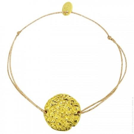 Gold Plated engraved cross Cord Bracelet