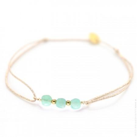 3 amazonite stones on a lurex Bracelet