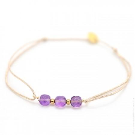 3 amethyste stones on a lurex Bracelet