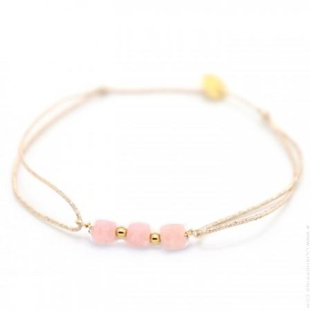 Bracelet Maya briolettes opale rose sur lien lurex
