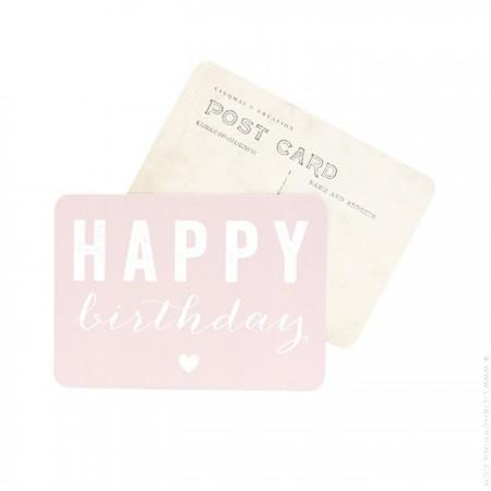 Happy Birthday powder pink Cinq Mai postcard