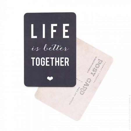 Life is better together slate grey Cinq Mai postcard