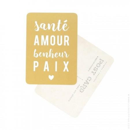 Carte postale Cinq Mai - Santé Amour Bonheur Paix
