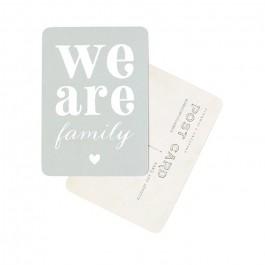 Carte postale Cinq Mai - We are Family bleu lichen