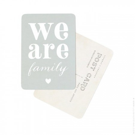 We are Family slate grey Cinq Mai postcard
