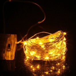 50 micros Led copper garland - 5 m yellow
