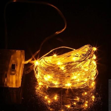 50 micros Led copper garland - 5 m warm white