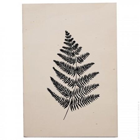 Black fern screen printed wooden card