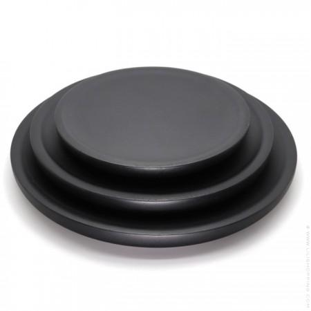 Set de 3 plateaux ronds en maguier noir