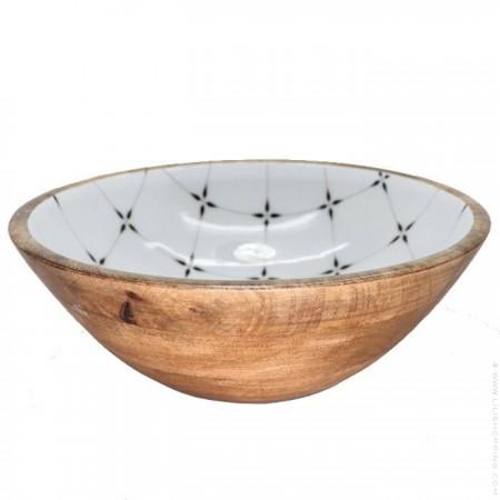Salad bowl in mango wood with diamond enamel
