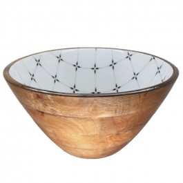 XL salad bowl in mango wood with diamond enamel