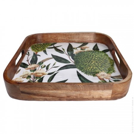 Square dish in mango wood with tropical enamel