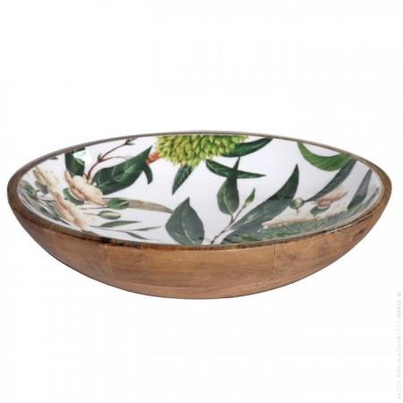Plat rond en manguier émaillé - collection tropical