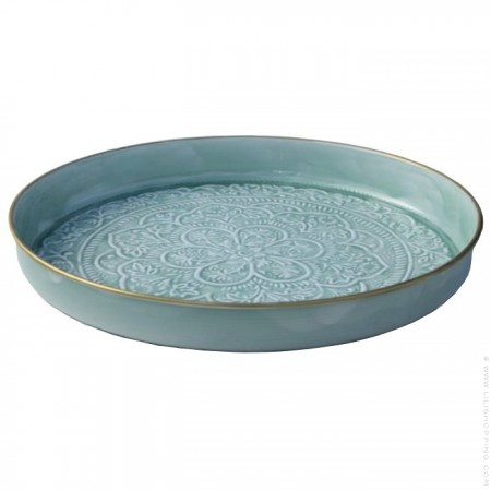 Light blue enamelled Berber tray