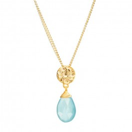Collier Athena chaine plaquée or et calcécoine aqua
