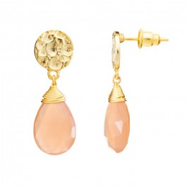 Athena peach moonstone drop earrings