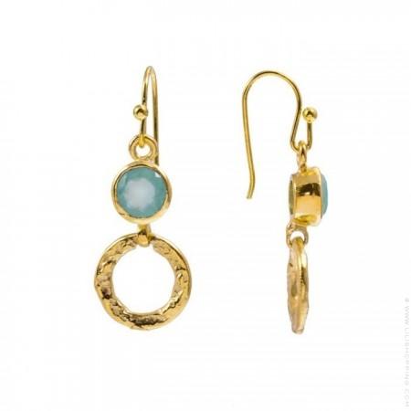 Larissa boho aqua calchedony hoops earrings