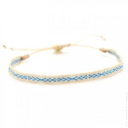 Bracelet Argentinas écru et turquoise