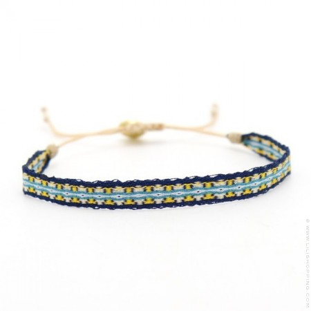 Bracelet Argentinas bleu marine et jaune