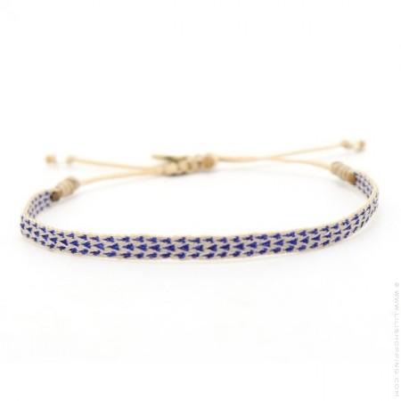 Bracelet Argentinas ivoire et triangles bleus