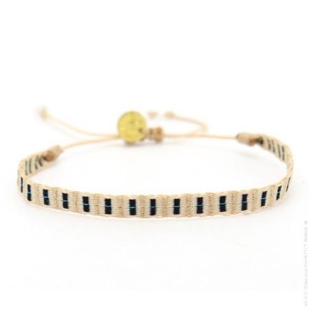 Bracelet Argentinas beige noir et turquoise