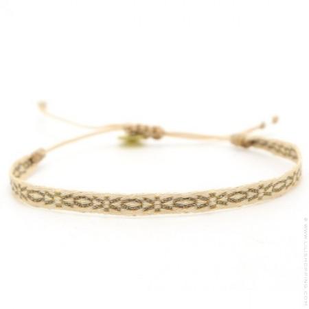 Bracelet Argentinas gris beige et or