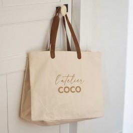 Sac cabas Bel Ami écru L'atelier Coco gold