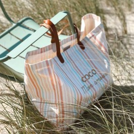 Bel Ami pastel striped bag Coco mon Amour gold glitter