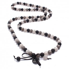 Black and grey beads long necklace by Zoe Bonbon