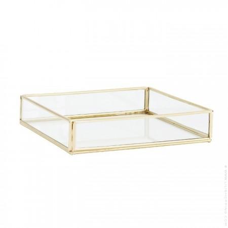 Plateau carré en verre et métal doré