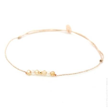 Bracelet lurex Lea Zyrcon plaqué or rose